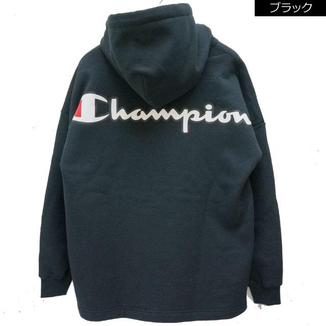 CHAMPION チャンピオン パーカー BIG LOGO HOODIE ビッグシルエット C3-Q109 ブラック ホワイト
