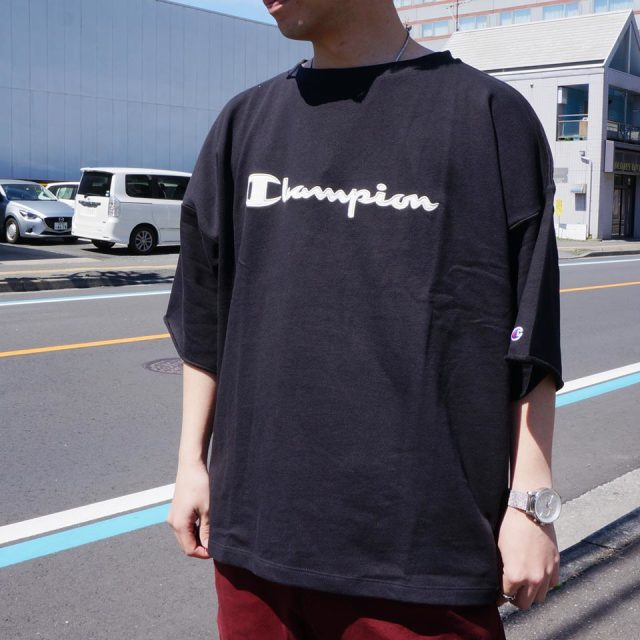 SALE セール CHAMPION チャンピオン スウェットTシャツ CREW SWEAT S/S Tee ビッグシルエット C3-R021 ブラック ネイビー