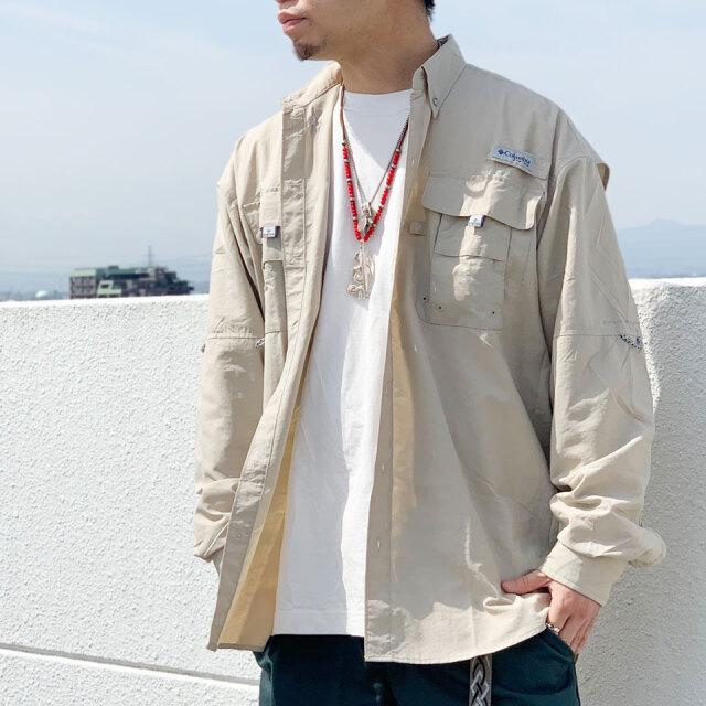 全3色 COLUMBIA コロンビア フィッシングシャツ BAHAMA L/S SHIRT 長袖 ブラック ピンク ベージュ FM7048