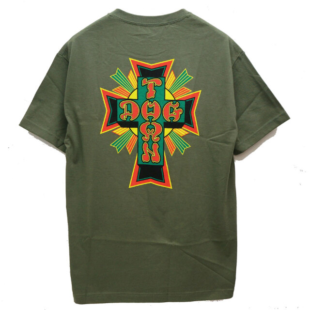 DOG TOWN ドッグタウン Tシャツ RASTA CROSS LOGO S/S Tee オリーブ