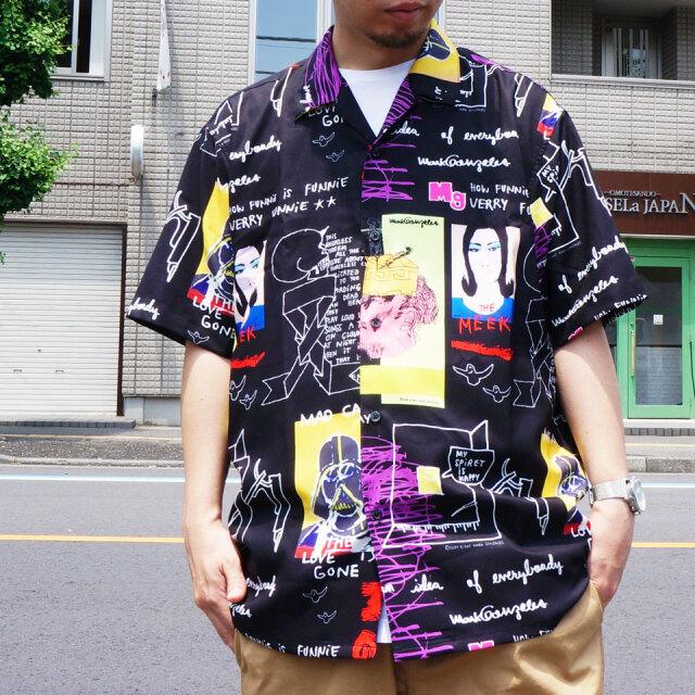 MARK GONZALES マークゴンザレス 総柄シャツ 半袖シャツ ALL OVER PRINT S/S SHIRT ブラック 2G8-0946