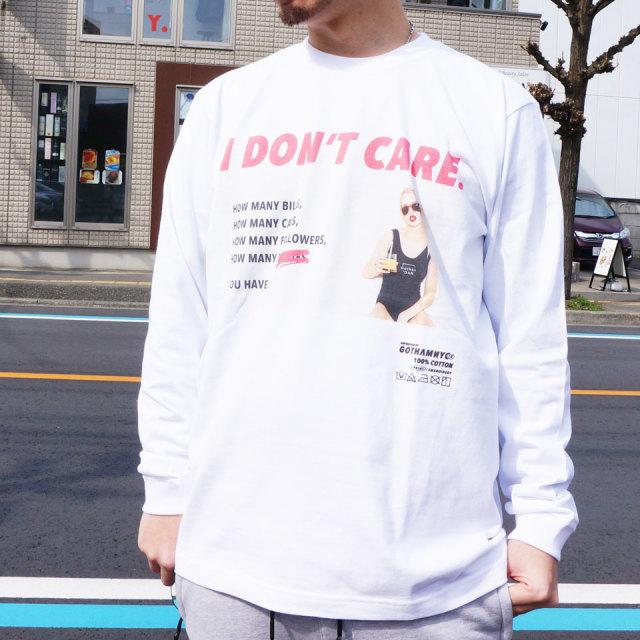 ゴッサム GOTHAM ロンT Tシャツ I DON'T CARE  L/S Tee ホワイト WHITE 白 ブラック 黒 BLACK 長袖 GN621