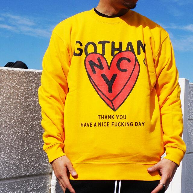 全2色 GOTHAM NYC ゴッサム クルースウェット トレーナー GOTHAM HEART CREW ブラック ゴールド