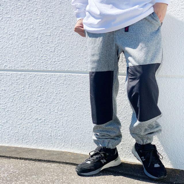 全2色 グラミチ GRAMICCI ジョガーパンツ BONDING KNIT FLEECE KNEE PATCH PANTS ニットパンツ GUP21-F067 ブラック ヘザーグレー