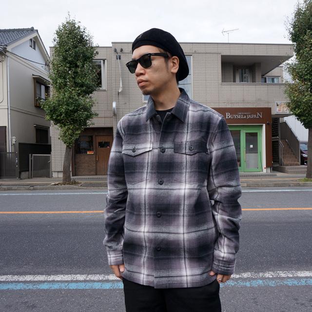 HUF ハフ チェック ネルシャツ JOHN BDU L/S WOVEN SHIRT グレー × ブラック GREY 黒 BLACK 送料無料