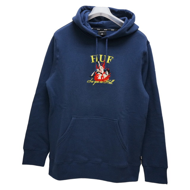 HUF ハフ パーカー SEE YOU IN HELL P/O HOODIE  ネイビー NAVY 紺 フーディー 送料無料