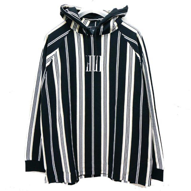 SALE セール HUF ハフ パーカー BUREN HOODIE フーディー フードTシャツ ブラック ストライプ 【#SafeAtHome】