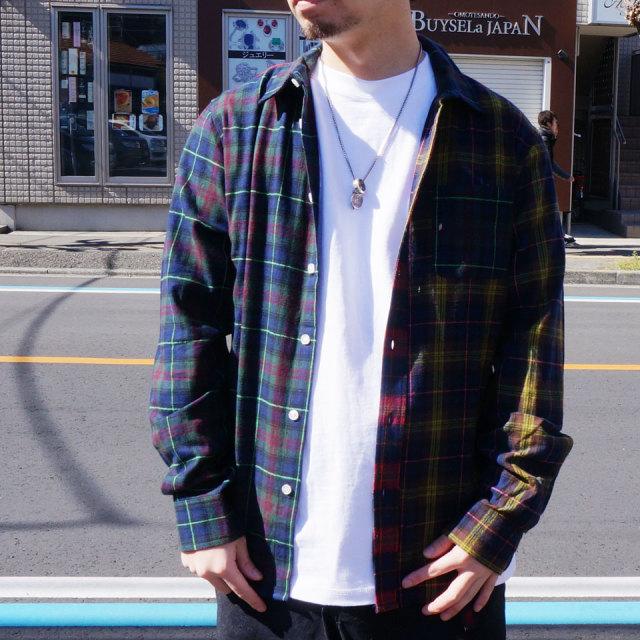 HUF ハフ チェック ネルシャツ SWIRE L/S WOVEN SHIRT クレイジーパターン ブラック 黒 BLACK ネイビー NAVY 送料無料