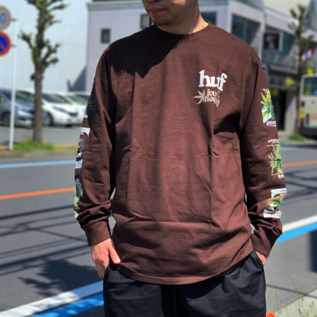 HUF ハフ ロンT Tシャツ GARDEN SUPPLY L/S Tee ナチュラル D.チョコレート 420COLLECTION