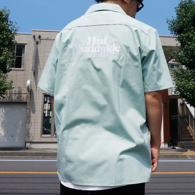 SALE セール 全2色 HUF ハフ ワークシャツ GAS STATION S/S SHIRT 半袖シャツ オフホワイト ハーバーグレー