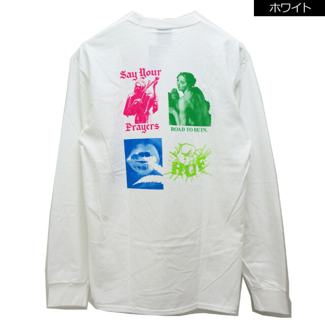 全2色 HUF ハフ ロンT Tシャツ DEJA VU L/S Tee ホワイト ブラック