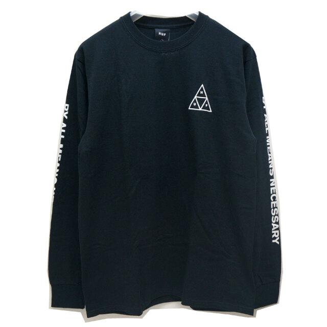 全2色 HUF ハフ ロンT Tシャツ ESSENTIAL TRIPLE TRIANGLE L/S Tee ホワイト ブラック 定番