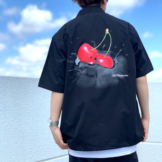 ハフ HUF 半袖シャツ WET CHERRY S/SL SHIRT ブラック 黒 バックプリント 正規店限定