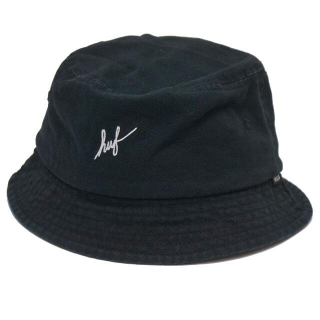 ハフ HUF バケットハット SCRIPT BUCKET HAT スクリプトロゴ 帽子 ハット ブラック 黒 BLACK