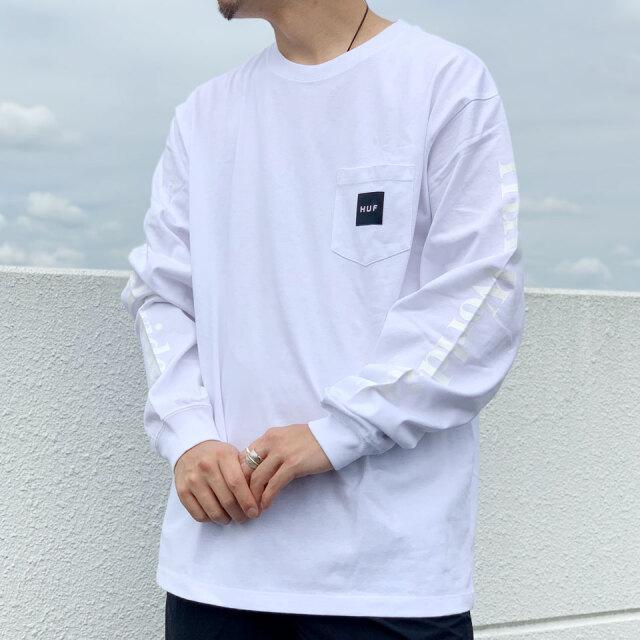 全2色 ハフ HUF ロンT Tシャツ BOX LOGO POCKET L/S TEE ボックスロゴ ポケットTシャツ 長袖 ホワイト ブラック