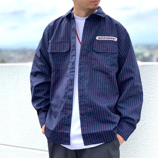 インディペンデントトラックス INDEPENDENT TRUCKS ワークシャツ ストライプシャツ BAR LOGO L/S WORK TOP ネイビーストライプ NAVY 紺