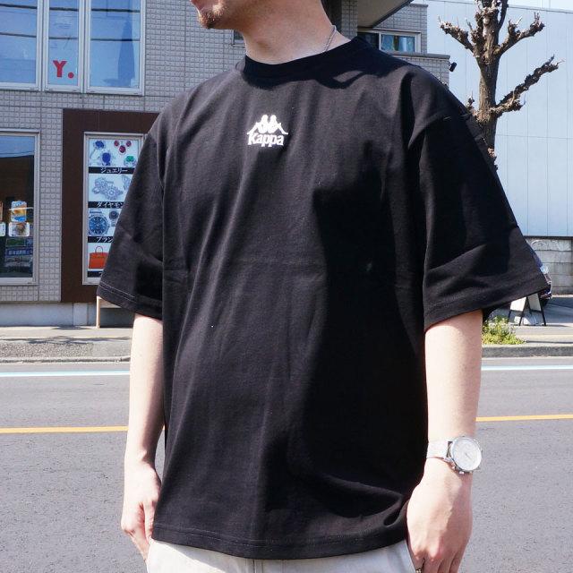 カッパ KAPPA Tシャツ BIG SILHOUETTE EMBROIDERY LOGO Tee ビッグシルエット ブラック ホワイト KLA12TS02