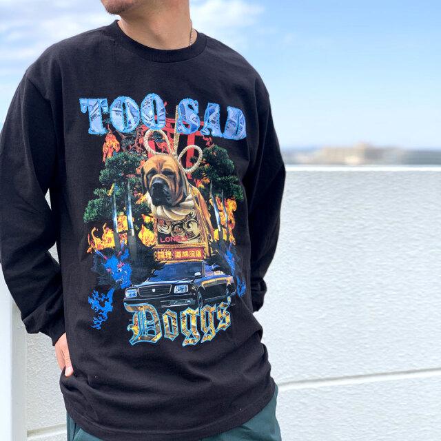 LONELY論理 ロンリー TOO SAD DOGGS L/S Tee ロンT Tシャツ ブラック