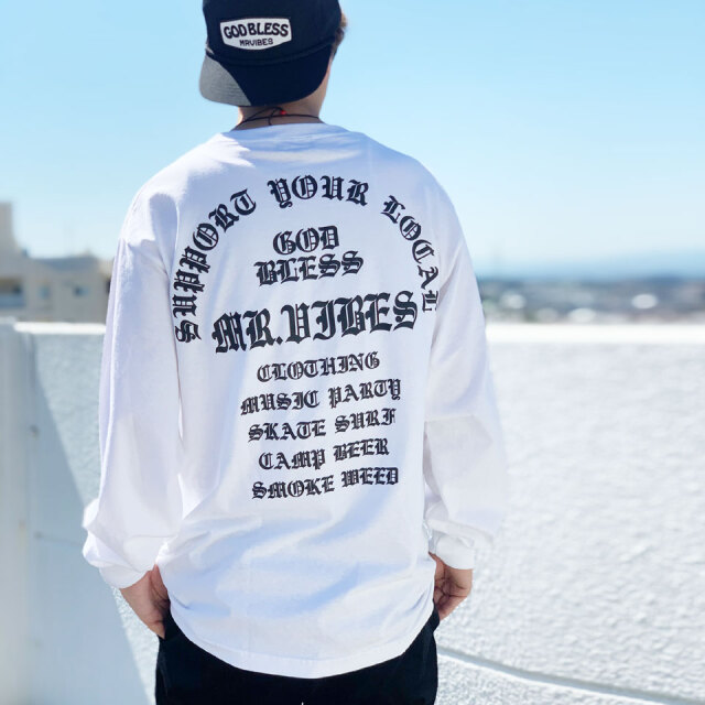 MRV by Mr.vibes ロンT Tシャツ GOD BLESS L/S Tee 長袖 オリジナル バックプリント ホワイト/ブラック 白 WHITE