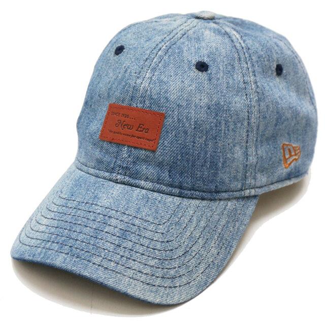 NEW ERA ニューエラ ローキャップ 9THIRTY WASHED DENIM LEATHER PATCH CAP デニム ブルー