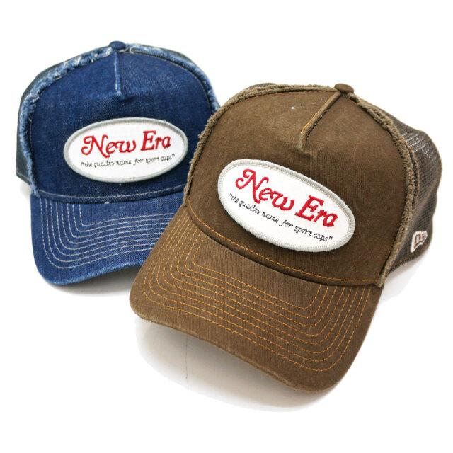 NEW ERA ニューエラ メッシュキャップ 9FORTY A-FRAME OVAL 帽子 キャップ ブラウン デニム