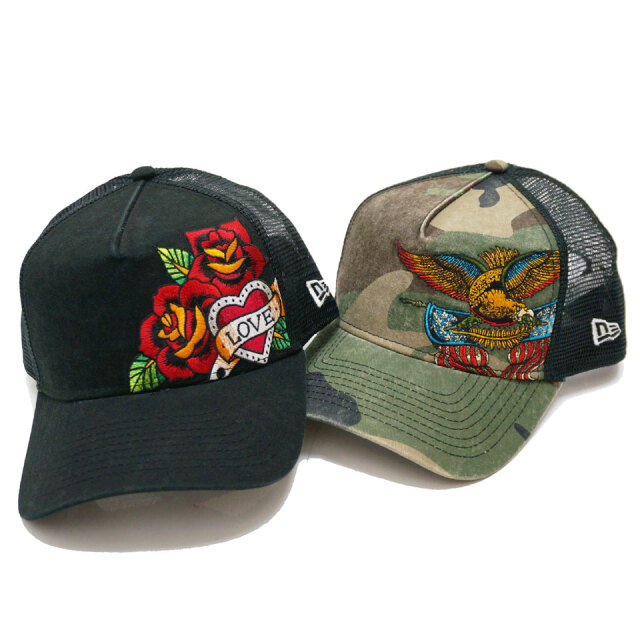 NEW ERA ニューエラ メッシュキャップ 9FORTY A-FRAME TATTO EMBROIDERD 帽子 キャップ ブラック カモ