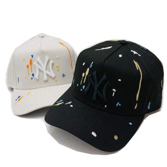 NEW ERA ニューエラ キャップ 9FORTY A-FRAME SPLASH NY CAP キャップ 帽子 ブラック ベージュ/ホワイト