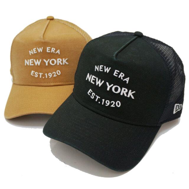 NEW ERA ニューエラ メッシュキャップ 9FORTY A-FRAME TRUCKER DUCK NY EST.1920 CAP 帽子 キャップ ブラック ベージュ