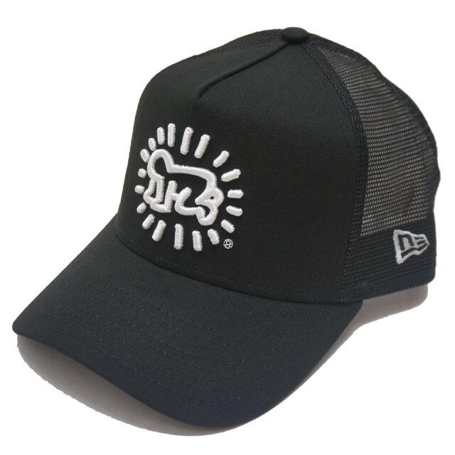 NEW ERA ニューエラ メッシュキャップ 9FORTY A-FRAME TRUCKER KEITH HARING CAP 帽子 キャップ ブラック