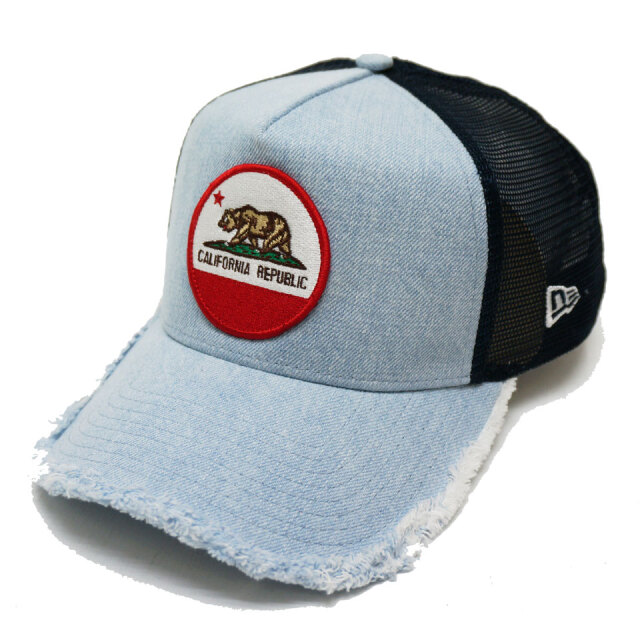 NEW ERA ニューエラ メッシュキャップ  9FORTY A-FRAME TRUCKER CALIFORNIA BEAR LOGO PATCH CAP デニム