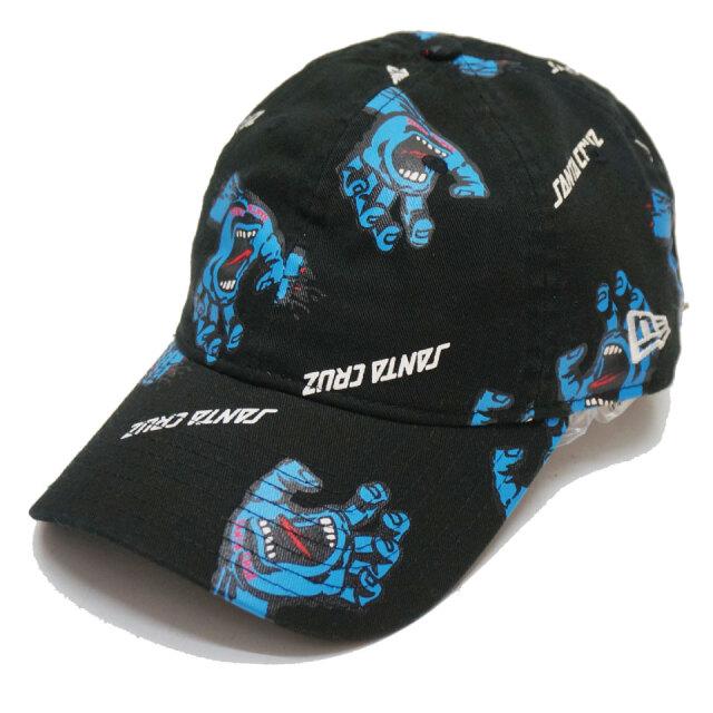 ニューエラ NEW ERA ローキャップ 9THIRTY SANTA CRUZ SCREAMING HAND ALL OVER CAP キャップ 帽子 サンタクルーズ スクリーミングハンド ブラック