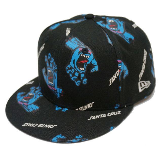 ニューエラ NEW ERA スナップバック キャップ  9FIFTY SANTA CRUZ SCREAMING HAND ALL OVER SNAPBACK CAP キャップ 帽子 サンタクルーズ スクリーミングハンド ブラック
