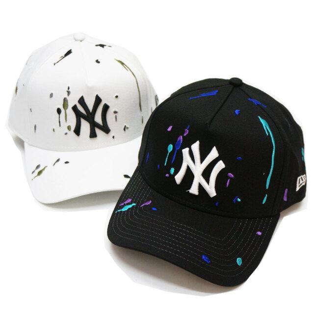 ニューエラ NEW ERA キャップ 9FORTY A-FRAME SPLASH EMBROIDERED NY CAP ブラック ホワイト