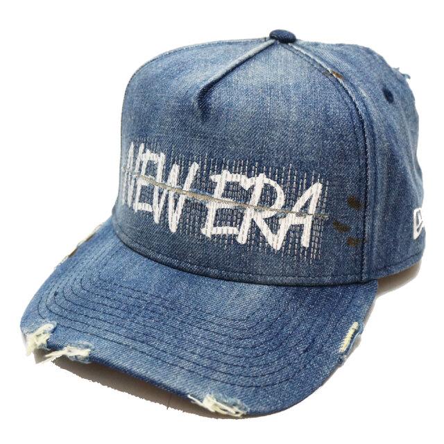 ニューエラ NEW ERA キャップ 9FORTY A-FRAME DAMAGED DENIM CAP デニム ダメージ ブルー