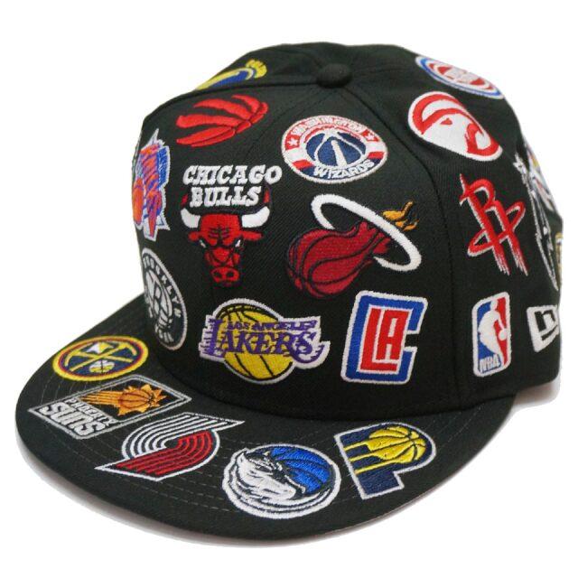 ニューエラ NEW ERA キャップ スナップバック 9FIFTTY NBA TEAM ALL OVER EMBROIDERD CAP バスケ ブラック