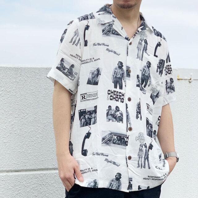 POT MEETS POP ポットミーツポップ CHEECH & CHONG HEAVY RESPONSIBILITY ALOHA SHIRT アロハシャツ 総柄 ホワイト