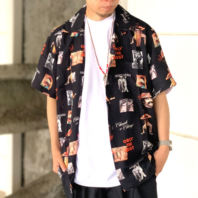 SALE セール 全2色 ポットミーツポップ POT MEETS POP 半袖シャツ ONLY THE BEST ALOHA SHIRT アロハシャツ CHEECH&CHONG ブラック クリーム
