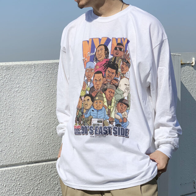 RAP ATTACK ラップアタック NY NY L/S Tee ロンT Tシャツ ラップT ホワイト