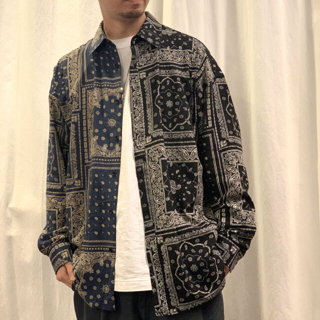 RE:NEW リニュー PAISLEY MULTI SHIRT ペイズリーシャツ RENEW ブラック/ネイビー