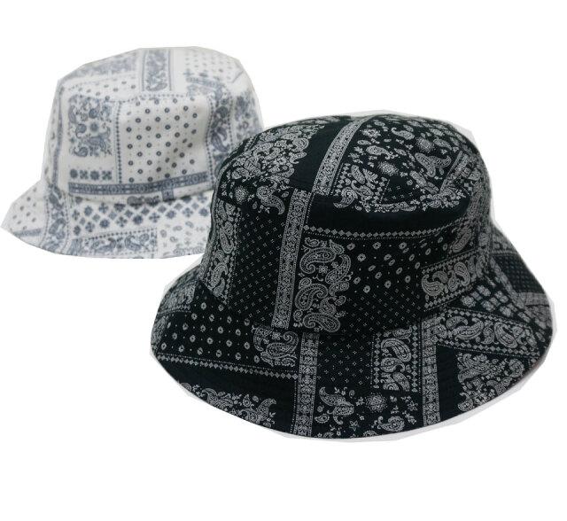 RE:NEW リニュー ペイズリーバケットハット PAISLEY BUCKET HAT ブラック 黒 ホワイト 白