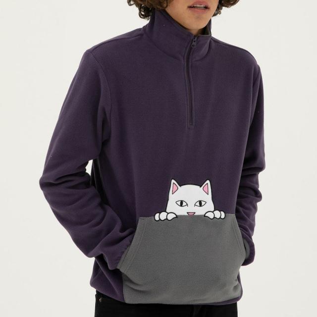 リップンディップ RIPNDIP フリース Peeking Nerm Brushed Fleece Half Zip  ネコ 猫 パープル
