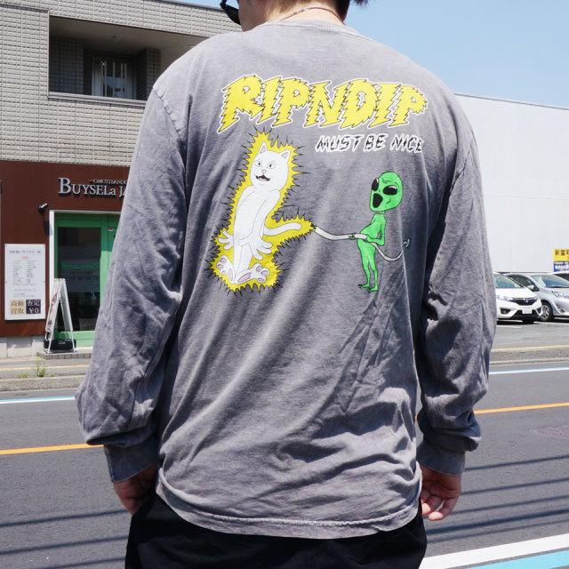 リップンディップ RIPNDIP ロンT Tシャツ ELECTRIFY L/S Tee 長袖 グレーミネラルウォッシュ GREY