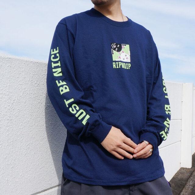 SALE セール リップンディップ RIPNDIP ロンT Tシャツ BEASTIES L/S Tee ネイビー 紺