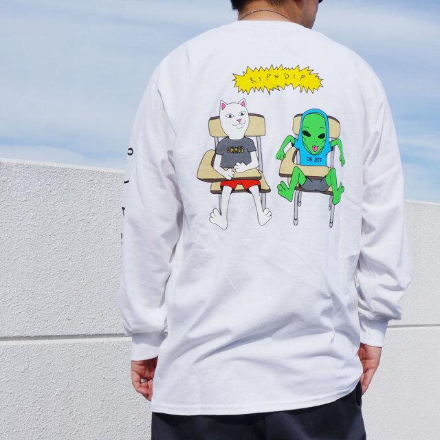 リップンディップ RIPNDIP ロンT Tシャツ BUTTS UP L/S Tee ホワイト 白