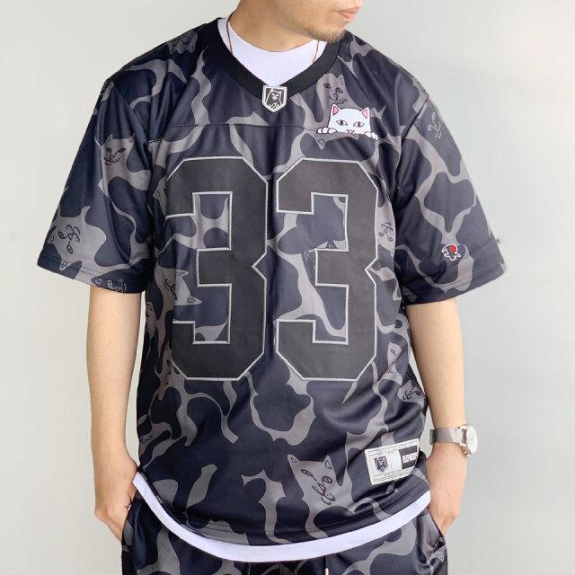 SALE セール リップンディップ RIPNDIP フットボールTシャツ PEEKING NERMAL FOOTBALL JERSEY Tee ブラックカモ