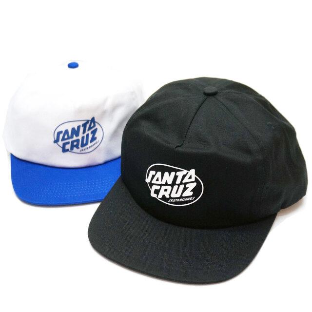 サンタクルーズ SANTA CRUZ サンタクルズ キャップ CLUB OVAL DOT SNAPBACK 帽子 スナップバック ブラック ホワイト/ブルー