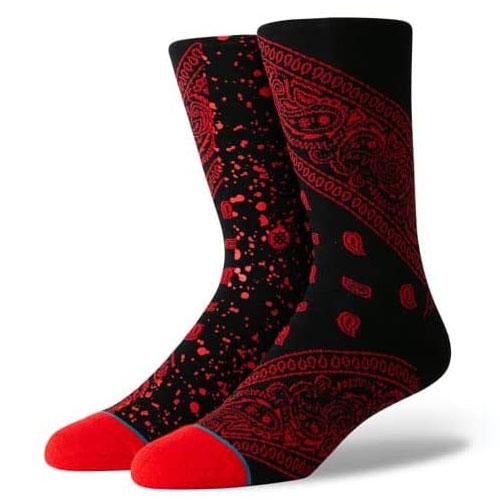 スタンス STANCE SOCKS 靴下 ROCKET PAISLEY ソックス スケーターソックス ブラック レッド ペイズリー バンダナ