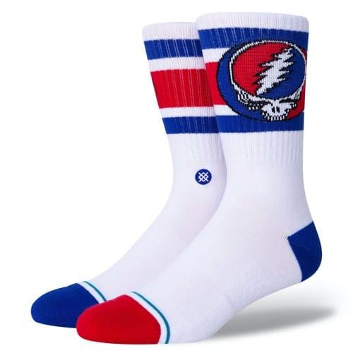 スタンス STANCE SOCKS 靴下 STEAL YOURE BOYD ソックス スケーターソックス グレイトフルデッド ホワイト/ロイヤル/レッド