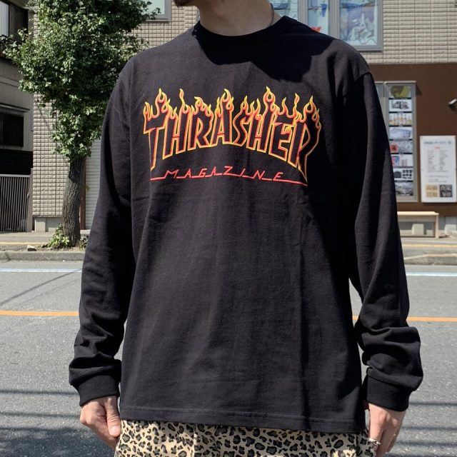 THRASHER スラッシャー ロンT FLAME OUTLINE L/S Tee TH93214US - BLACK