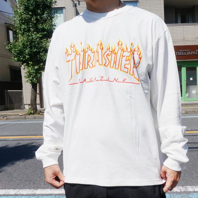 SALE セール THRASHER スラッシャー ロンT FLAME OUTLINE L/S Tee TH93214US - WHITE 【#SafeAtHome】